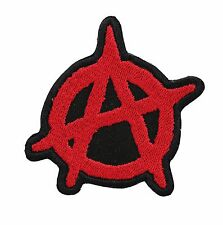 10 Inches. RED ANARCHY MotorcycleS Embroidered CENTER Patch - 0008