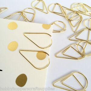 Planner Paperclips Tear Drop Shape Gold Paper Clip