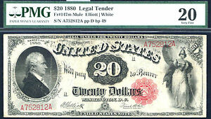 1880, $20 FR 147m Large Size Legal PMG 20 -MULE-RARE