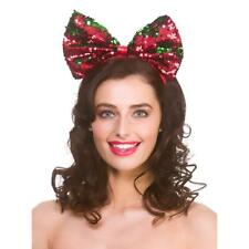 Flip Sequin Christmas Bow Headband Adults Hat Green Red Shiny Novelty Party