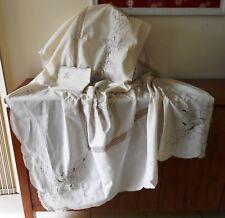 Vintage Ecru Crochet and Embroidered Linen Tablecloth & 12 Napkins 164cm x 254cm