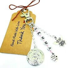 Personalised Any Name St Christopher Guardian Angel Keyring, Bag Charm Gift