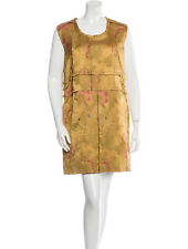 MARNI METALLIC GOLD BROCADE AVANT GARDE FLORAL PANEL DRESS IT 42 6 8 RARE junya