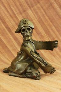 Hand Made bronze sculpture Figural Holder Wine Skeleton Pirate Cast HotUG
