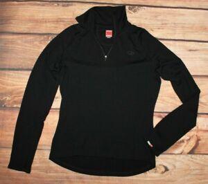 Icebreaker Ladies Merino Wool Original Long Sleeve Half Zip Top Pullover Black L