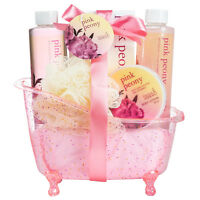 Bath, Body, and Spa Gift Basket Set in a Tub for Women, in Pink Peony Fragrance