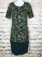 LuLaRoe LLR Julia ~ Women's Dress Size XS ~ Green Floral W/ Contrast Panel Print