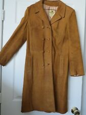 VTG 60S IMPERIAL WOMENS GENUINE BROWN SUEDE LEATHER LONG COAT DOUBLE BREAST 10