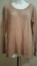 American Eagle Outfitters Long Sleeve Netted Sweater Tan with Hints of Pink L