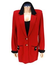 ST JOHN COLLECTION Equestrian Coat SIZE 14 Red Black Suede Santana Knits Jacket