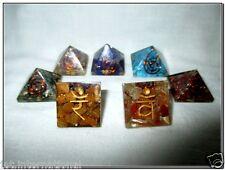 Baby Orgone Chakra Pyramid Set A+ Gemstone Reiki Prana Healing Chokurei Energy