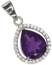 Amethyst Gemstone Pear Sparkling Sterling Silver Pendant + Chain
