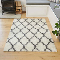 Shaggy Cozy Nordic Danish Hygge Ivory Cream Trellis Living Room Fireplace Rug
