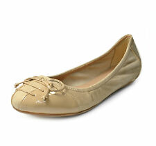Cole Haan Air Jenni Bow Ballet II Flat Shoes Suede Patent Leather SANDSTONE 7.5