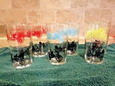 6 Anchor Hocking Vintage Antique Car Glasses Packard Maxwell Cadillac Ford
