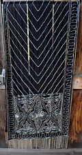 ART TO WEAR HAND BEADED EVENING SHAWL SCARF WITH SILVER BEADS ON BLACK FABRIC!