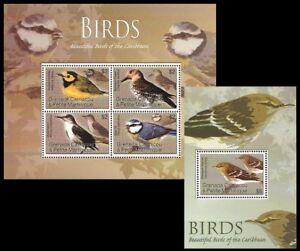 Birds, Warbler, Flicker, Blue Tit, Blackpoll warbler, Grenada Ca. 2007 MNH SS+MS