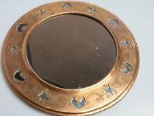 Vintage Copper Brass Mirror Cuttout Stars Moons Round Etched Wall Hanging 10""