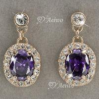 18k rose gold gf made with SWAROVSKI crystal purple stud drop dangle earrings