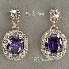 DROP EARRINGS STUD 9K GF 9CT YELLOW GOLD PURPLE CRYSTAL CLASSIC