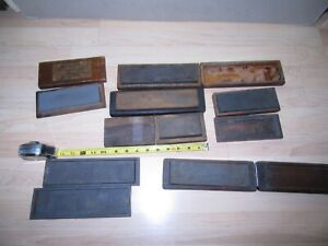 large group of 7 sharpening stones natural & synthetic combination  w/wood boxes