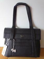Radley Berwick St Medium Flap Over Black Leather Shoulder Bag Dog Logo