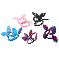 1X(10pcs Women's Rabbit Ear Hair Tie Bands Korea Style Ponytail Holder V9Y9)