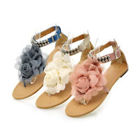 New Womens Flower Pearl Ankle Strap Low Flat T-Strap Thong Sandals Shoes Plus Sz