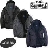 Uneek Mens Premium Outdoor Waterproof Windproof Coat Fleece Lined Jacket Hood