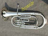 BARITONE OF PURE BRASS IN SILVR CHROME POLISH + CASE BOX & MOUTHPC +FREE SHIP,NG