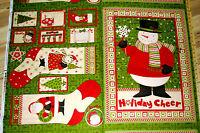 "Ho Ho Holiday Santa Debbie Mumm Christmas Fabric Stocking Sock Panel 29""  #67446"