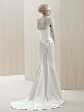 Evanston (11397) Wedding Dress by Enzoani (100% Silk, Sheath, Ivory, Size 4-6)