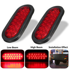 2x 6'' Red 24LED Sealed Red Lens Stop/Turn/Tail Light Hi/Lo Beam for Car Truck