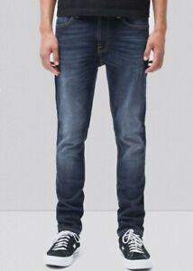Nudie Jeans Mens Lean Dean Dark Deep Worn Jeans straight slim Fit Denim W 33 Exc
