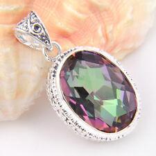 European Royal Vintage Silver Rainbow Fire Mystic Topaz Silver Necklace Pendant
