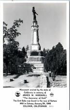 RPPC  COLOMA, California  CA   JAMES W. MARSHALL Monument 1940s Frasher Postcard