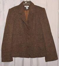 NEWPORT NEWS careerwear brown tweed texture button front blazer sz 16 #155