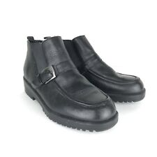 Caressa Crosstown Black Leather Slip Pull On Ankle Boot Shoes Sz 8.5 Buckle