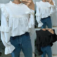 Women Plus Size Ruffle Neck Pleated Tops Ladies Long Sleeve Causal Shirts Blouse