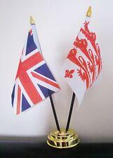 UNION JACK AND DORSET OLD LIONS TABLE FLAG SET 2 flags plus GOLDEN BASE