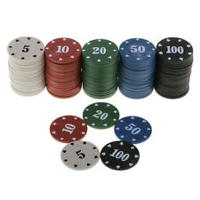 100pcs Set Poker Chips Casino Texas Professional Game Tokens Plastic 5 Color