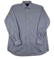 Faconnable Classique Blue Plaid Button Front Long Sleeve Mens Large