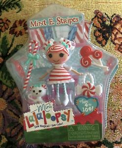 Lalaloopsy Mini Doll Mint E Stripes NEW IN BOX Pet + Purse Candy Accessories