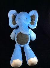 "Restoration Hardware Baby & Child Blue Brown Elephant Plush Soft Toy 18"" Stuffed"