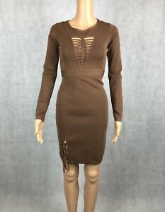 Allyson Collection Camel Frey Caged Detail Knitted Bodycon Dress - One Size