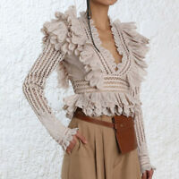 2019SS  Womens Designer Inspired  Crochet Ruffle Vintage French Style Top