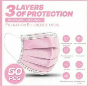 5/10/20/30/50 3 PLY PINK DISPOSABLE FACE MASKS NON-MEDICAL SURGICAL MASK