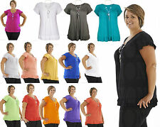 Womens FRILL NECKLACE GYPSY Tunic Short Sleeve Long ladies V Neck Tops lot sizes