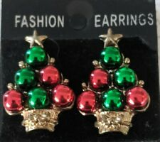 Vintage Christmas Tree Red Green Gold Baubles Star Basket Bow Clip on Earrings