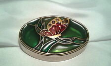Vintage Gold Stained Glass Butterfly Red and Green Numbered Trinket Jewerly Box